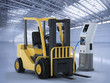 forklift truck charges at station - 213450801