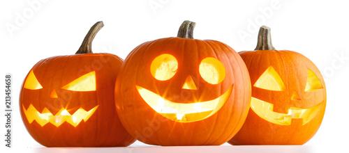 Leinwandbild Motiv Halloween Pumpkins on white