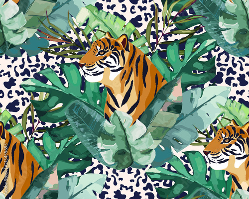 fototapeta na ścianę Exotic seamless pattern. Tropical leaves and tiger. Vector illustration. Watercolor style