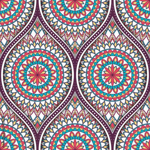 Seamless pattern with ethnic mandala ornament. Hand drawn vector illustration