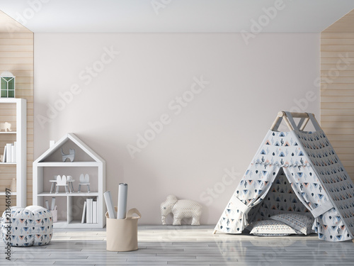 Mockup wall in child interior 3d rendering - 213461497