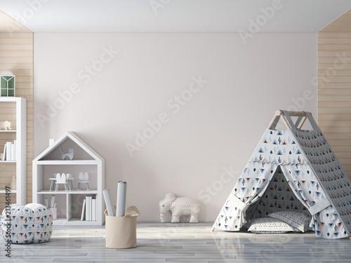 Mockup ściana w dziecka wnętrza 3d renderingu