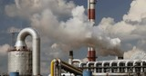 Big industry plant with thick white smoke coming out from chimney - 213466857