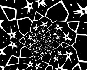 Abstract decorative spiral and stars in a black and white colors