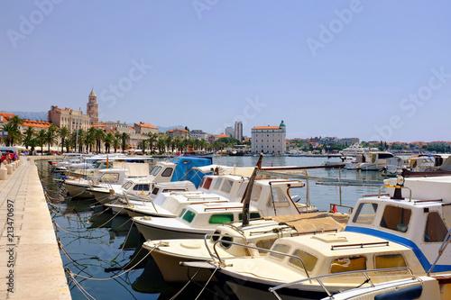 Fototapeta Split city boat harbor with the promenade in the background in Croatia