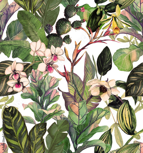 Seamless pattern with tropical leaves and flowers. watercolor pattern with a magnolia flower, orchids, cactus, white orchid phalinopsis. Botanical background © Арина Трапезникова