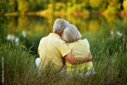Leinwandbild Motiv Loving senior couple posing