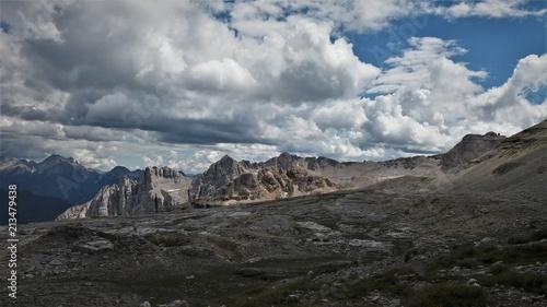 Fotobehang Zwart Laemar from above, dolomites, Italy