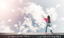 "Постер, картина, фотообои ""Concept of careless happy childhood with girl dreaming to become"""