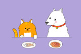 Cartoon cute cat and dog eating vector. - 213487203