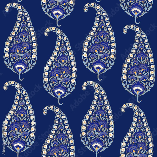 Floral indian paisley pattern vector seamless. Vintage flower ethnic ornament for indonesia batik sarong fabric. Oriental design for damask bedroom textile, yoga wallpaper, turkish luxury wedding.