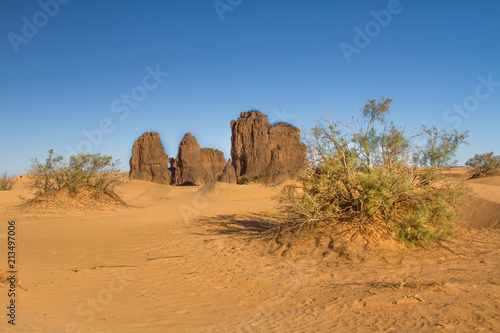 Fototapeta Amazing, single rock formation near Dajnet, South Algeria, North Africa