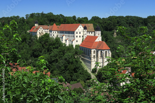 Leinwanddruck Bild Schloss Haigerloch, Baden Württemberg; Deutschland, Eyachtal;