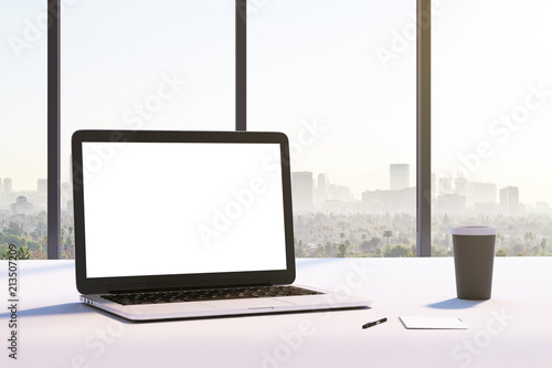 mockup white laptop screen © peshkova
