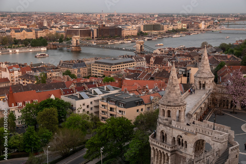 Budapest's panorama a Buda one is famous for a hotel's roof taking a photo - 213509406