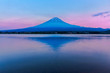 View of Mount Fuji and reflection by Lake kawaguchiko during sunset in Yamanashi, Japan.