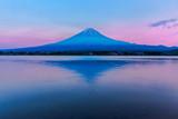 View of Mount Fuji and reflection by Lake kawaguchiko during sunset in Yamanashi, Japan. - 213510278