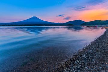 View of Mount Fuji by Lake kawaguchiko during sunset in Yamanashi, Japan.