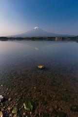 Beautiful sunrise at mount Fuji with reflection on lake kawaguchiko in Yamanashi, Japan.