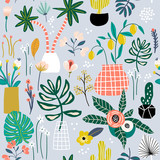 Seamless pattern with flowers in pots, palm branch, leaves and textures. Creative jungle texture. Great for fabric, textile Vector Illustration - 213513206
