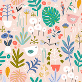 Seamless pattern with flowers in pots, palm branch, leaves and birds. Creative floral texture. Great for fabric, textile Vector Illustration - 213513241
