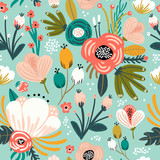 Seamless pattern with flowers,palm branch, leaves. Creative floral texture. Great for fabric, textile Vector Illustration - 213513277