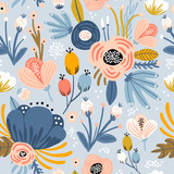 Seamless pattern with flowers,palm branch, leaves. Creative floral texture. Great for fabric, textile Vector Illustration - 213513286