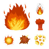 Different explosions cartoon icons in set collection for design.Flash and flame vector symbol stock web illustration. - 213517236
