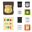 Detective agency cartoon,black,flat,monochrome,outline icons in set collection for design. Crime and investigation vector symbol stock web illustration.