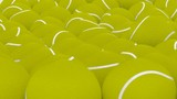 Animated rotating around fallen plain yellow tennis balls. Close up shot, on white background and loop able. - 213521693