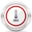 Cold thermometer silver metallic chrome border round web icon on white background