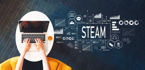 STEAM with person using a laptop on a white table