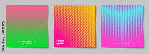 Set kwadratowi abstrakcjonistyczni tła z halftone wzorem w neonowych kolorach. Kolekcja gradientowych tekstur z ornamentem geometrycznym. Szablon projektu ulotki, baner, okładka, plakat. Wektor