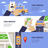 Taxi service travel concept. Vector illustration of yellow cab on road and mobile app on smartphone screen - 213534238