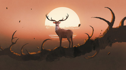 the deer standing on a giant branch that resembles an animal's horns against sunset sky, digital art style, illustration painting