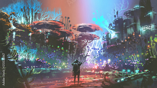 fantasy scenery of the man looking at colorful coral forest, digital art style, illustration painting