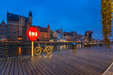 Architecture of the old town in Gdansk at Motlawa river, Poland.