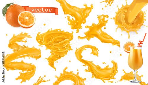 Plusk farby pomarańczowy. Mango, ananas, sok z papai. 3d realistyczny wektor zestaw ikon