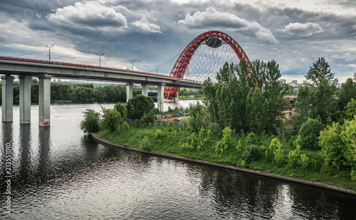 Foto Spatwand Moskou Red bridge over the Moskva river, Russia