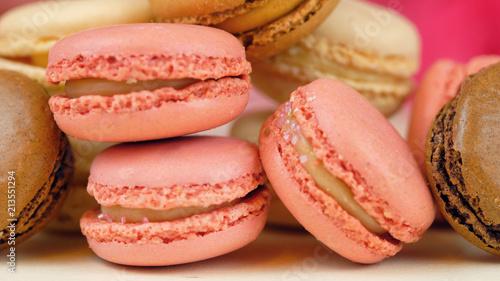 Macro close up of colourful macaron cookies. - 213551294