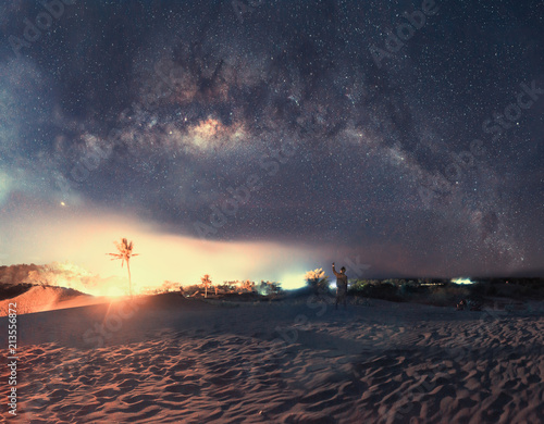 Panorama of Milky Way Galaxy with the background of night sky and stars, in the desert. - 213556872