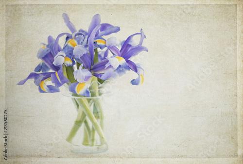 Fotobehang Iris Textured vintage style photograph of purple Iris in a vase
