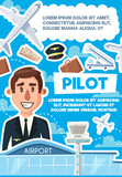 Pilot vacancy, skillful aviator recruitment poster