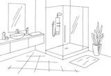 Bathroom graphic home interior black white sketch illustration vector - 213570048