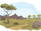 Savannah pathway graphic color landscape sketch illustration vector - 213571012