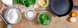 Recipe spinach pancakes Set ingredients cookinge copy space Gluten free - 213572279