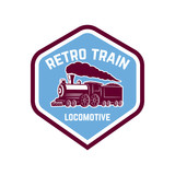 Emblem template with vintage train. Design element for logo, sign, label.