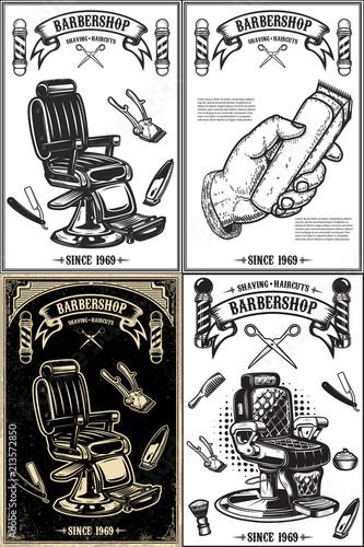 In de dag Vintage Poster Set of barber shop poster templates. Design element for logo, label, emblem, sign, poster.
