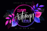 Vector autumn sale banner with hand drawn lettering and detailed bright leaves