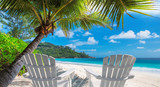Beach chairs on sandy beach with palm and turquoise sea.  Summer vacation and travel concept.   - 213579295